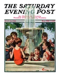 """Swimming in Fountain "" Saturday Evening Post Cover  July 24  1926"