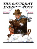 """Snowball Fight "" Saturday Evening Post Cover  January 25  1930"