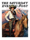 """Woman on Horse in Mountains "" Saturday Evening Post Cover  October 6  1928"