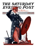 """New Hat for Uncle Sam "" Saturday Evening Post Cover  May 12  1923"