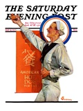 """American Hot Dogs "" Saturday Evening Post Cover  May 14  1927"