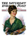 """""""Woman Artist and Her Palette """" Saturday Evening Post Cover  April 28  1928"""