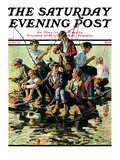 """Raft Fishing "" Saturday Evening Post Cover  July 30  1927"