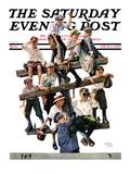 """Baseball Fans "" Saturday Evening Post Cover  October 1  1927"