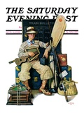 """""""Going Home from Camp """" Saturday Evening Post Cover  August 11  1928"""