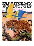 """Leopard and Parrots in Jungle "" Saturday Evening Post Cover  September 2  1933"