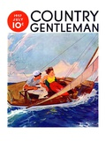 """Couple Sailing "" Country Gentleman Cover  July 1  1937"