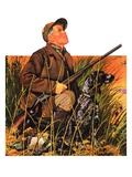 """Hunter and Dog in Field ""November 9  1935"