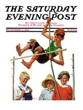 """Pole Vault "" Saturday Evening Post Cover  September 3  1927"