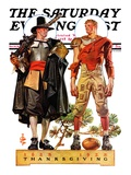 """Thanksgiving  1628/1928 "" Saturday Evening Post Cover  November 24  1928"