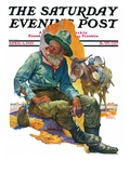 """Old Miner "" Saturday Evening Post Cover  April 6  1929"