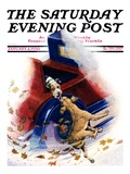 """Bone of Contention "" Saturday Evening Post Cover  January 4  1930"