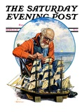 """Model Three Masted Ship "" Saturday Evening Post Cover  September 17  1927"