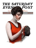 """Hole in Bathing Cap "" Saturday Evening Post Cover  August 4  1923"