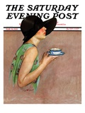 """Lady in Wide Brim Hat Holding Tea Cup "" Saturday Evening Post Cover  March 24  1928"