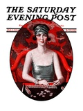 """Majong "" Saturday Evening Post Cover  January 5  1924"