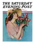 """Pink Rose Bouquet "" Saturday Evening Post Cover  June 18  1927"