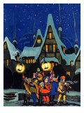 """Christmas Carolling in Village at Night ""December 1  1930"