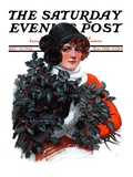 """Holly Bouquet "" Saturday Evening Post Cover  December 13  1924"