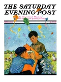 """Patching a Kite "" Saturday Evening Post Cover  September 15  1928"