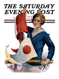 """Woman and Signal Flags "" Saturday Evening Post Cover  August 21  1926"