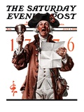 """Town Crier "" Saturday Evening Post Cover  July 4  1925"