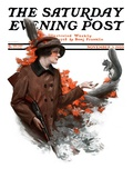 """Woman Hunter Feeding Squirrel "" Saturday Evening Post Cover  November 3  1923"