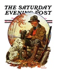 """Hunter and Spaniel "" Saturday Evening Post Cover  November 3  1928"
