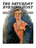 """""""Woman Wearing Beaded Necklace """" Saturday Evening Post Cover  February 26  1927"""