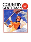 """Woman Shoveling Snow "" Country Gentleman Cover  February 1  1935"