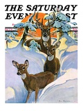 """Deer in Snow "" Saturday Evening Post Cover  February 7  1931"