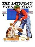 """Dog Bath "" Saturday Evening Post Cover  January 13  1934"