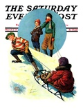 """Uphill Sledding "" Saturday Evening Post Cover  March 7  1931"