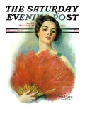 """""""Red Feathered Fan """" Saturday Evening Post Cover  February 28  1931"""
