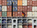 Container Vessel in Hamburg Harbour