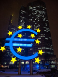 Symbol of the Euro Currency in Front of the European Central Bank in Frankfurt Main