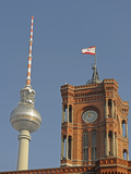 Tower of the Red Town Hall and the Berlin Television Tower