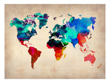 Carte du monde en aquarelle 1 Reproduction d'art par NaxArt