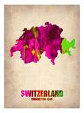 Switzerland Watercolor Map