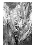 Mountaineering Party in Bottom of Crevasse  ca 1905