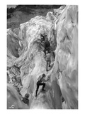 Crossing Crevasse on the Nisqually Glacier  ca 1905