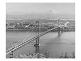 Tacoma Narrows Bridge from Gig Harbor Towards Tacoma  WA (ca 1950)
