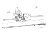 A strong man with a tattoo of an anchor on his biceps sits on a chair next… - New Yorker Cartoon