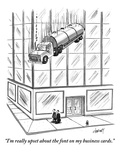 """I'm really upset about the font on my business cards"" - New Yorker Cartoon"