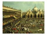 Bullfight in St Mark's Square  Venice  Italy  by Canaletto and Giovanni Battista Cimaroli