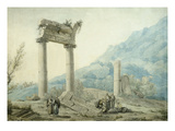 Hadrian's Aqueduct  Athens  Greece  1775 Watercolour