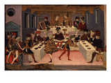 Banquet  Panel of Painted Coffer Depicting History of Alatiel  15th Century Italian