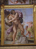 Furious Cyclops Polyphemus Throwing Rock from Volcano Etna at Men  from Loves of the Gods Frescos