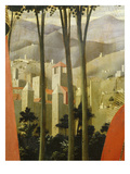 Landscape with Village  from the Deposition of Christ  1435  from Holy Trinity Altarpiece (Detail)