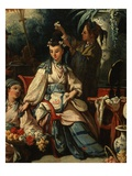 Dressing Woman&#39;s Hair with Flowers  from Le Jardin Chinois (Chinese Garden) (Detail)